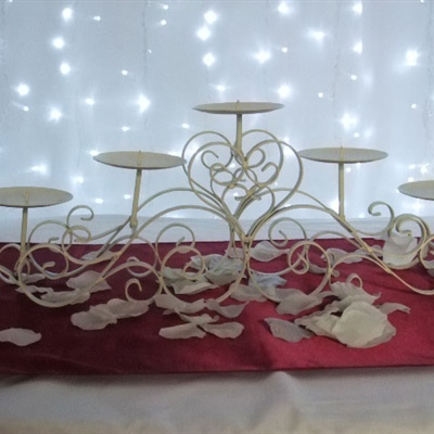 Wide White 5 Pronged Candelabra