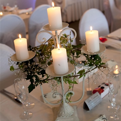 Tall White 5 Piece Candelabra