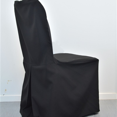 Linen Single Pleat Chair Cover_Black