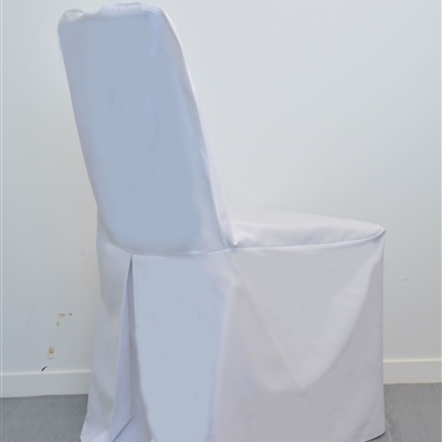 Linen Single Pleat Chair Cover_White