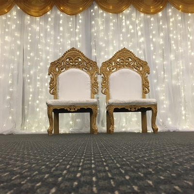 6m x 3m Curtain Lights with Gold Scallop